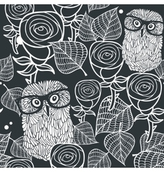 Seamless black and white pattern with cute birds vector