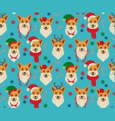 seamless christmas pattern with corgis vector image