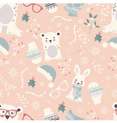 Seamless Merry Christmas pattern with cute animals vector