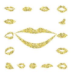 set gold lips girl silhouette vector image