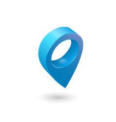 set map pointer 3d pin location symbols vector image