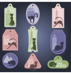 Set of color labels with cat tourist subject vector