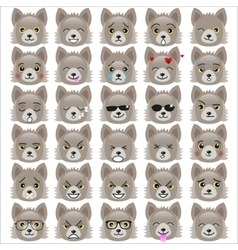 Set of funny pup emoticons vector