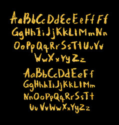 Set of hand drawn glitter golden alphabet in vector