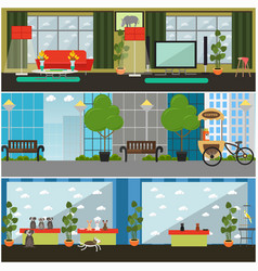Set of pets interior flat posters banners vector
