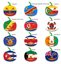 Set pumpkins for Halloween as a flags of the world vector image