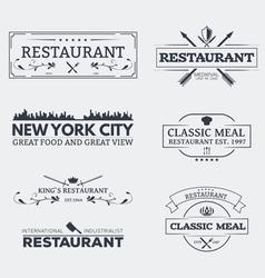 Seven restaurant emblems vector