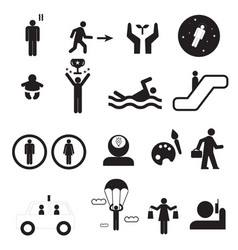 Sign of people life setsilhouette human activity vector