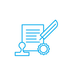 signing the contract linear icon concept signing vector image