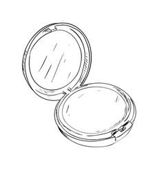 sketch of powder box with mirror vector image