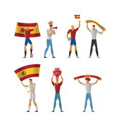 Spain football fans cheerful soccer vector