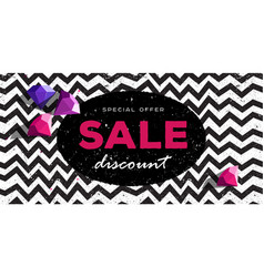 special offer discount poster with zig zag pattern vector image