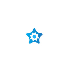 star gear cogwheel logo vector image