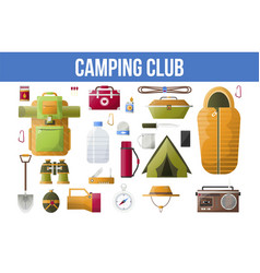 summer camping club or camping tools icons vector image