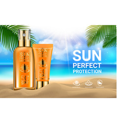 sun protection sunscreen sprays tube of sunscreen vector image