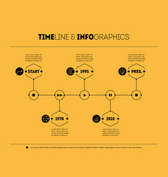 timeline infographic with icons and buttoms - vector image