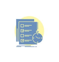 Todo task list check time glyph icon vector