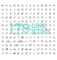 Transport icons thin line design vector