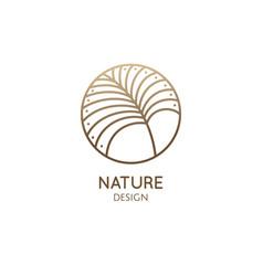 Tropical plant logo outline round emblem palm vector