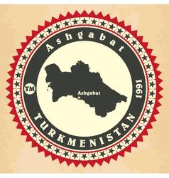 Vintage label-sticker cards of Turkmenistan vector image