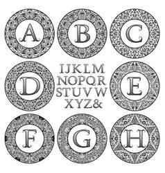 vintage monogram kit patterned letters and frames vector image
