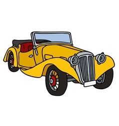 Vintage yellow roadster vector