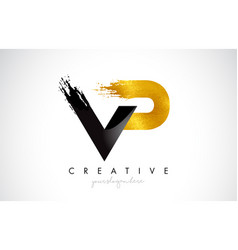 Vp letter design with brush stroke and modern 3d vector