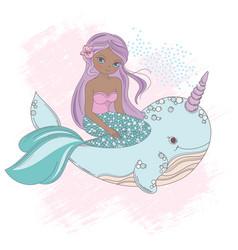 whale unicorn princess sea underwater cartoon vector image