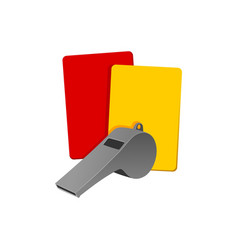 whistles and referee cards vector image