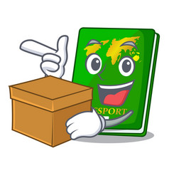 With box green passport in the cartoon shape vector