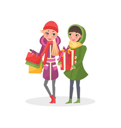 women in warm winter cloth do shopping together vector image
