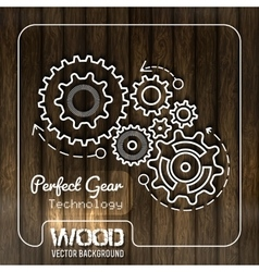 Wood texture with gears design vector