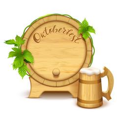 wooden barrel and full wooden beer mug vector image