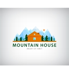Wooden house flat design Logo vector image
