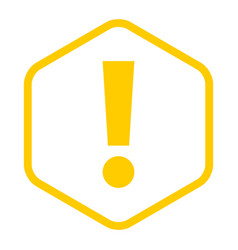 yellow sexangle exclamation mark icon warning sign vector image