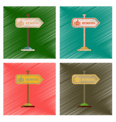 Assembly flat shading style icons school sign vector