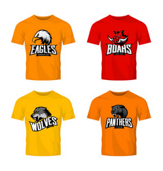 Furious panther wolf eagle and boar sport vector