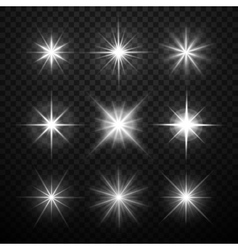 Glowing light effects stars bursts with vector image