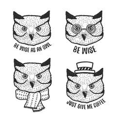 hand drawn cartoon owl head prints set vector image vector image
