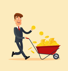 happy businessman in grey suit pushing red cart vector image vector image