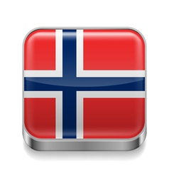 Metal icon of Norway vector image vector image