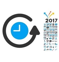 Restore clock icon with 2017 year bonus pictograms vector