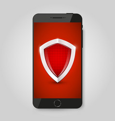 smartphone protection smartphone with shield vector image vector image