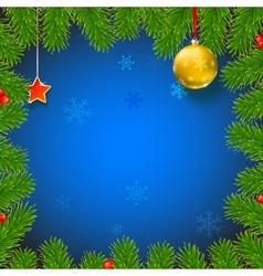 Christmas background with fir branches red vector image vector image