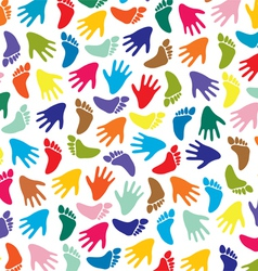 colorful feet and hands vector image