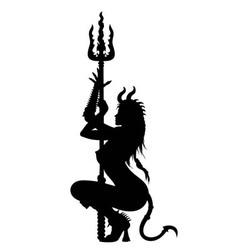 Devil woman striptease silhouette vector