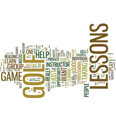 golf lessons a necessity or not text background vector image vector image