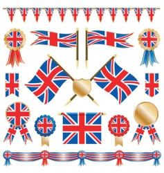 great britain flags and rosettes vector image vector image