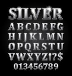 silver letters isolated on black background vector image vector image