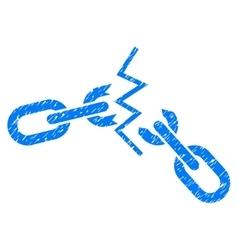 Broken chain grainy texture icon vector